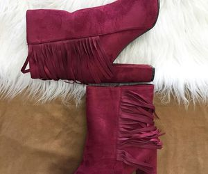 ankle boots, fringe boots, and fringe booties image