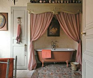 bathroom, vintage, and pink image