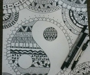 art, black and white, and mandala image