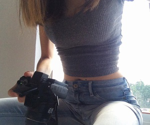 beautiful, blue jeans, and camera image