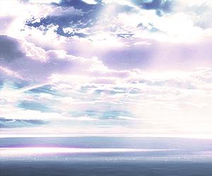 anime, sky, and cloud image