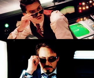 tony stark, howard stark, and iron man image