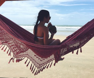 beach, bikini, and coconut image