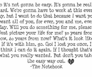 the notebook, quote, and love image