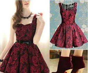 dress, red, and rose image