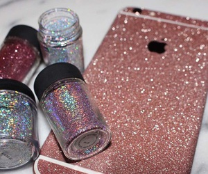 iphone, glitter, and pink image