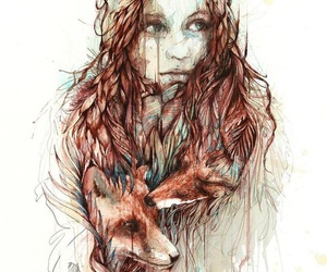 girl, fox, and art image