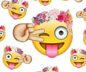emoji, wallpaper, and flowers image