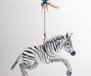 zebra, art, and balloon image