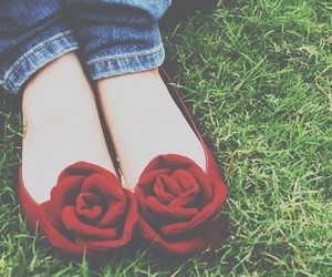 red, shoes, and rose image