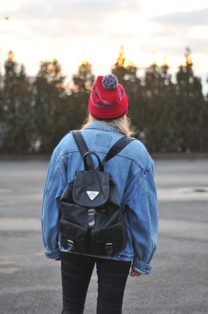 backpack, fashion, and denim jacket image