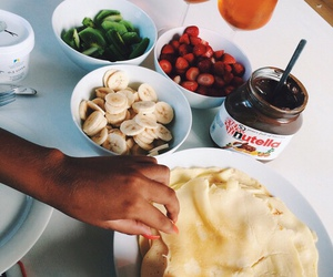 nutella, fruit, and pancakes image