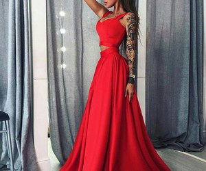 dress, red, and tattoo image