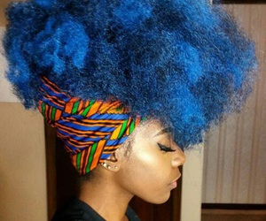 blue, Afro, and blue hair image