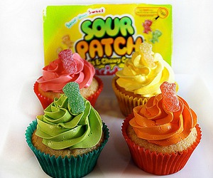 cupcake, food, and sour patch kids image