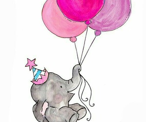 elephant, balloons, and pink image