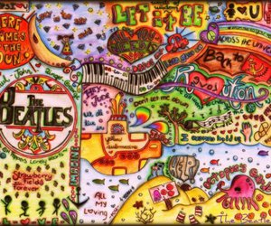beatles, songs, and colorful image