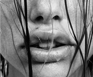 lips, girl, and black and white image