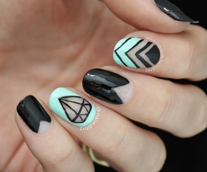 nails, diamond, and black image