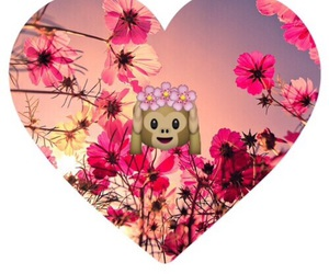 flowers, heart, and monkey image