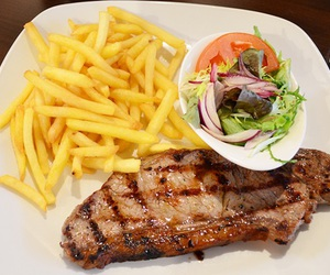 food, steak, and fries image