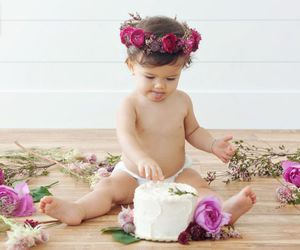 baby girl, birthday, and flowers image