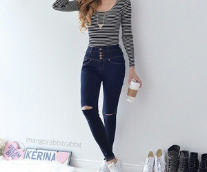 outfit, jeans, and hair image