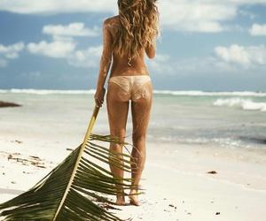 beach, beach babe, and sea image
