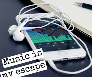 earphone, escape, and life image