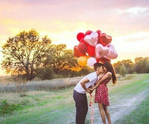 balloons, boyfriend, and couple image