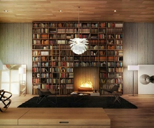 book, fireplace, and library image