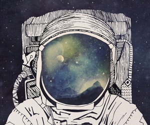 space, astronaut, and art image