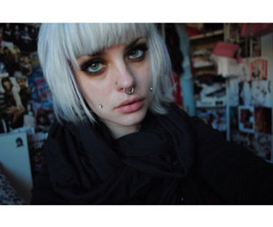 girl, piercing, and short hair image