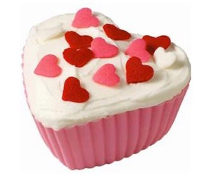 cup cake, heart, and pink image