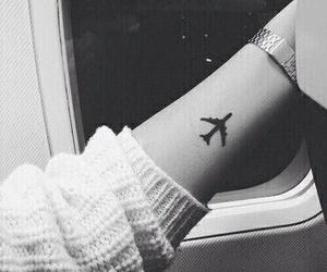 tattoo, travel, and airplane image