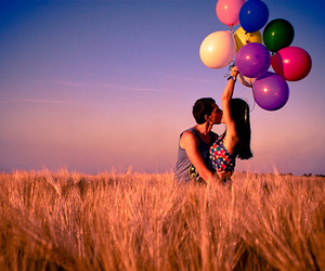 love, balloons, and couple image