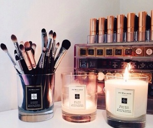 makeup, candle, and Brushes image