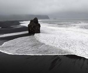 black, beach, and sea image