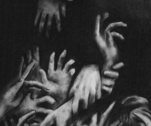 dark, hands, and black image