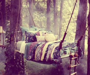 bed, forest, and Dream image