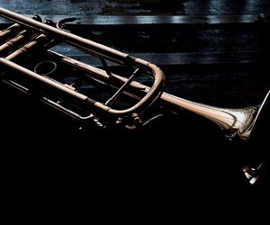 brass, instrument, and trumpet image