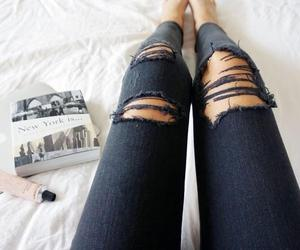 jeans, fashion, and black image