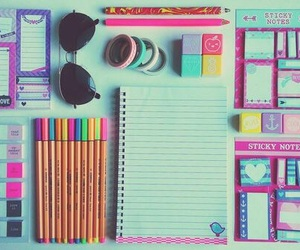 school, notebook, and sunglasses image
