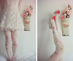 floral, tights, and lace image