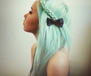 beautiful, bow, and green hair image