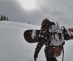 adventure, snow, and snowboard image