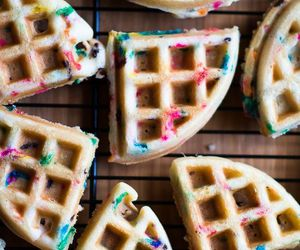 waffles, food, and sweet image