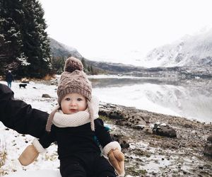 baby, snow, and style image