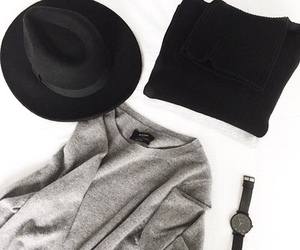 black, sweater, and grey image