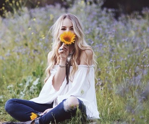 girl, flowers, and fashion image